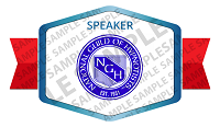 Speaker at the National Guild of Hypnotists Badge Sample