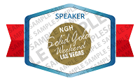 Speaker at the NGH Solid Gold Weekend Badge Sample
